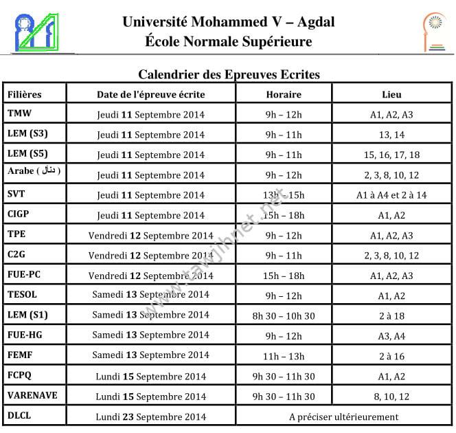 calendrier ENS Rabat