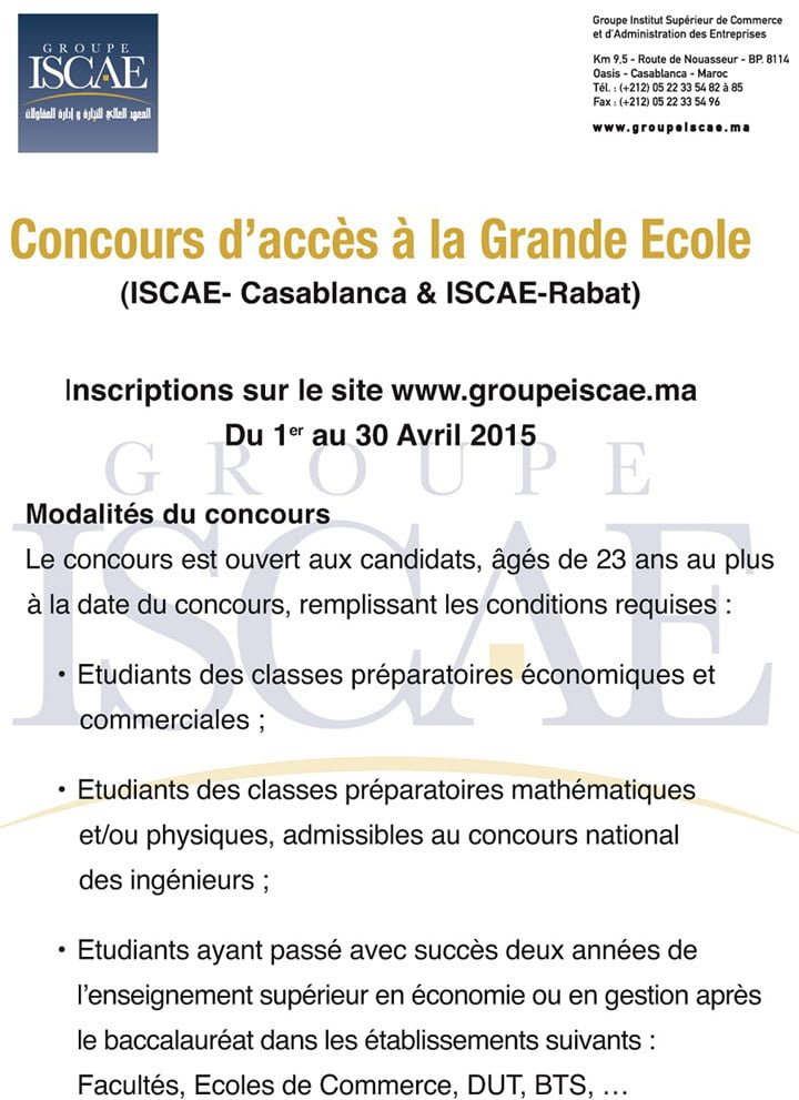 annonce Concours ISCAE 2015
