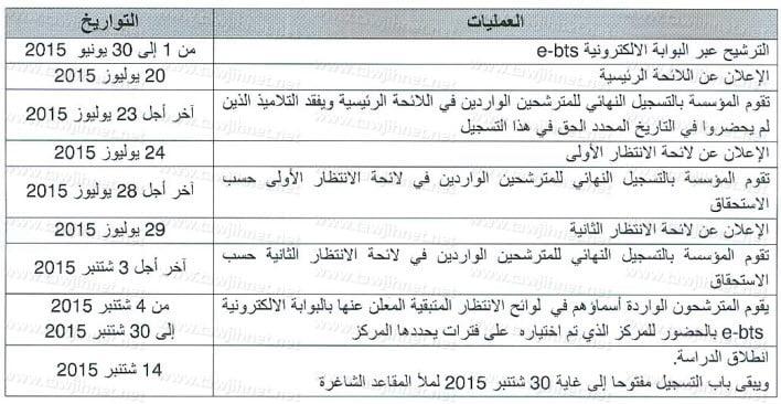 calendrier bts 2015 2016