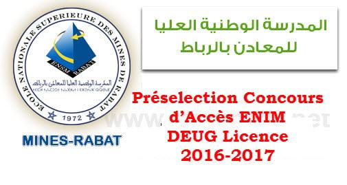 Préselection Concours d'Accès ENIM DEUG Licence 2016-2017