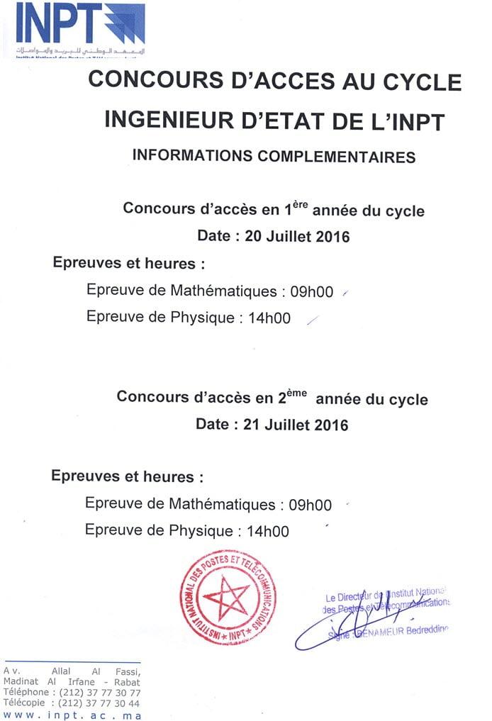 INPT-Concours Parallèles 2016 Calendrier des examens-2016