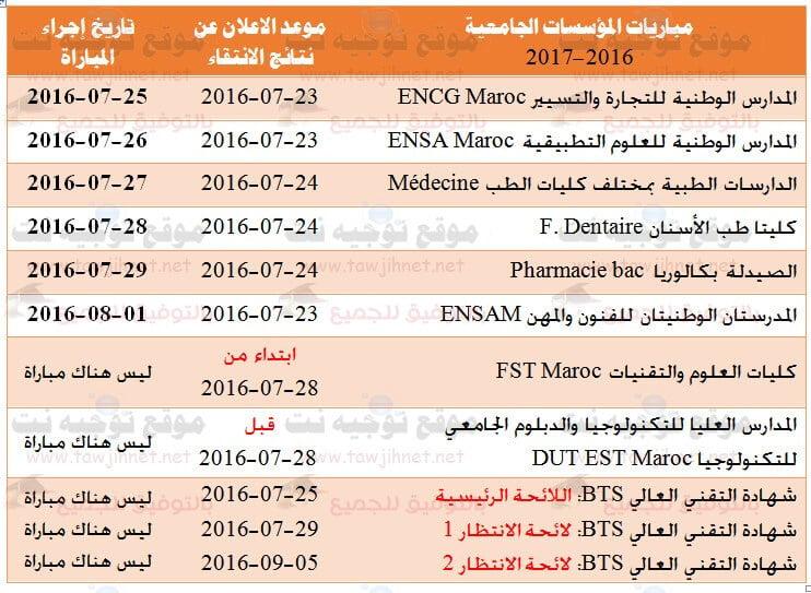 calendrier-concours-ENSA-ENSAM-ENCG-Medecine-FST-EST-BTS-2016