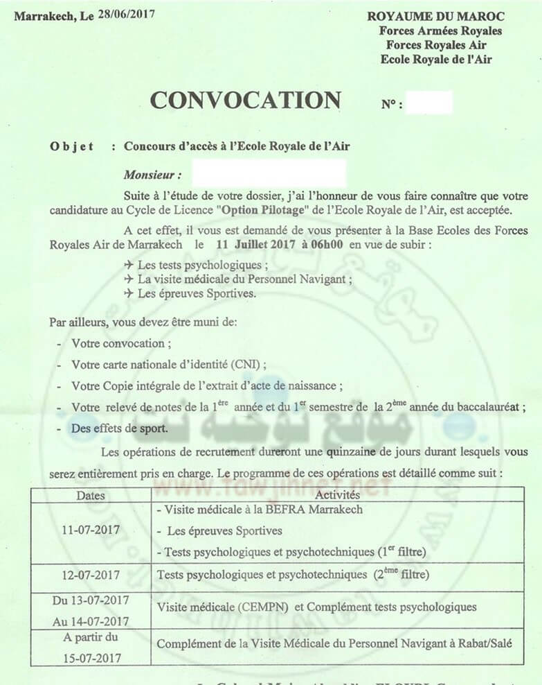 Convocation-Concours