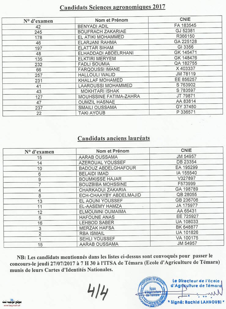 techniciens PréselectionInstitut des Techniciens spécialisés en Agriculture de Témara 2017-2018