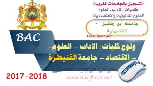 inscription Université Ibn Tofail Kenitra Facultes FS FSJES FLSH 2017-2018