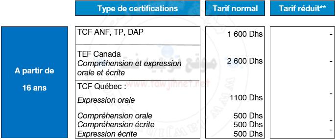 Campus France Maroc calendrier TCF DAP TP DELF DALF