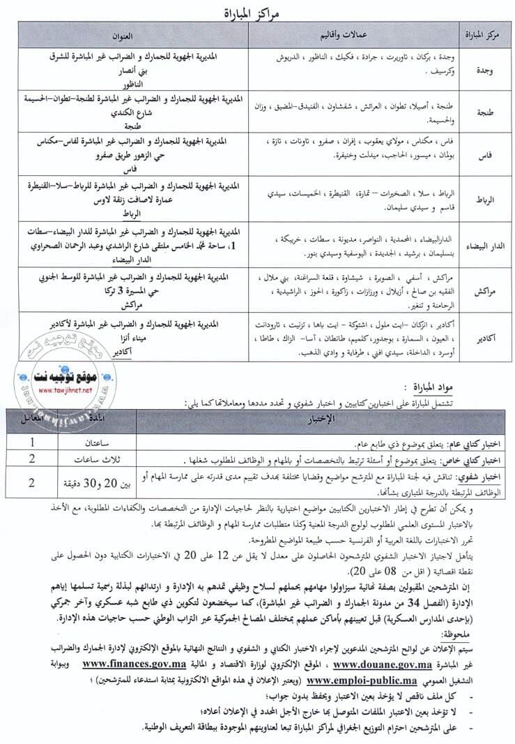 Avis de concours de recrutement de Adjoint administratif 3ème grade - Echelle 6 (250postes) au Ministère de l'économie et des finances -Administration des Douanes et Impôts Indirects-
