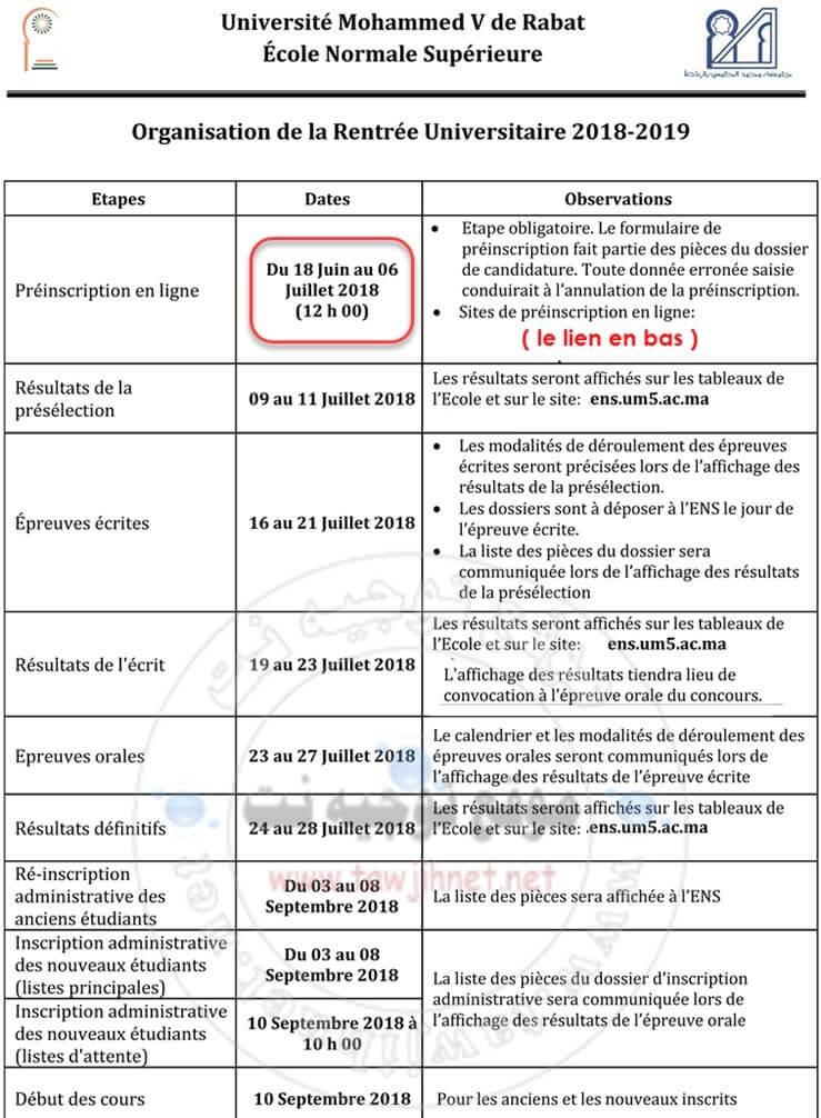 Bac Concours Ecole Normale Supérieure ENS Rabat 2018-2019