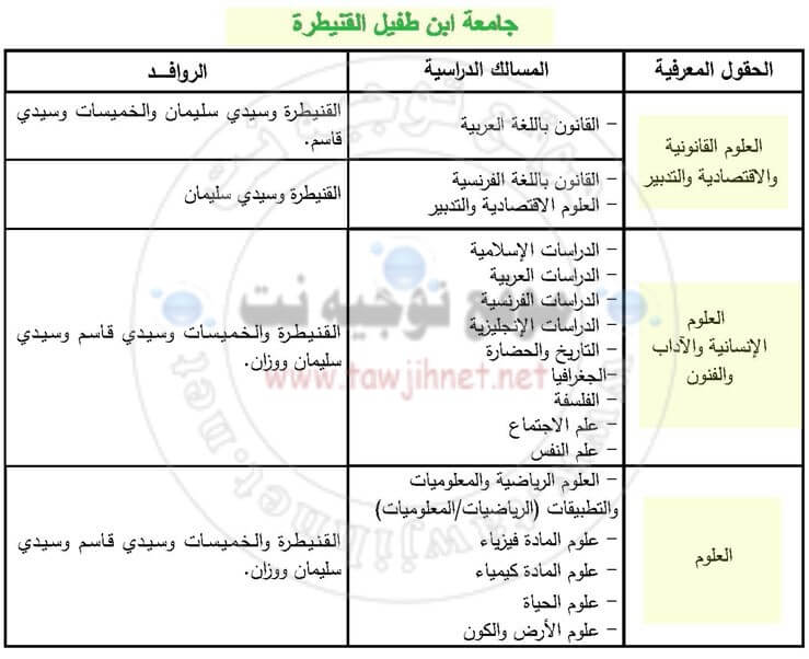 Bac inscription Université Ibn Tofail Kenitra Facultes FS FSJES FLSH 2018-2018