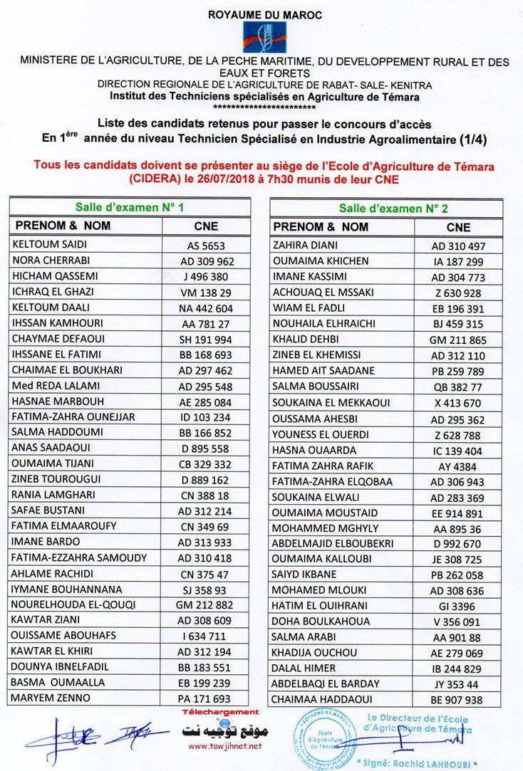 candidats retenus passer concours IAA Institut Techniciens spécialisés Agriculture Témara 2018-2019