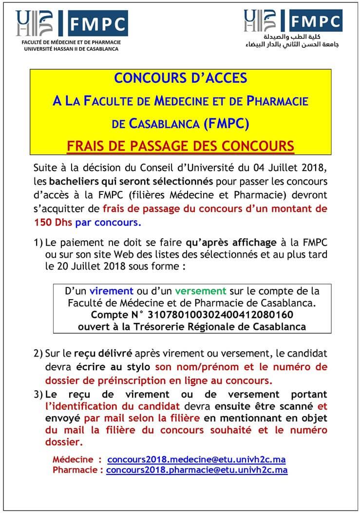 Préselection Bac Concours d'accès pharmacie FM Casablanca 2018-2019