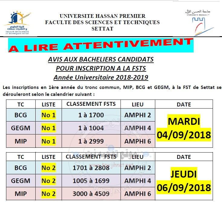 Bac Résultatsde Selection Faculté Sciences Et Techniques FST Settat 2018-2019