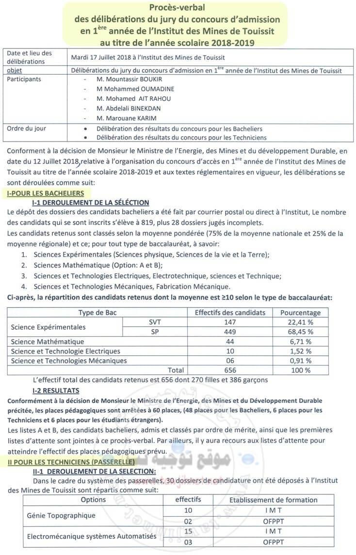 Institut Des Mines TouissitIMT 2018-2019