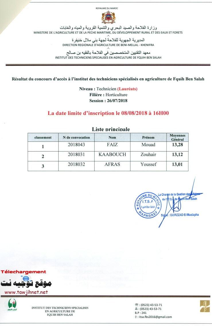 Horticulture Résultats Concours Institut Des Techniciens Specialises En Agriculture De Fquih Ben Salah 2018-2019