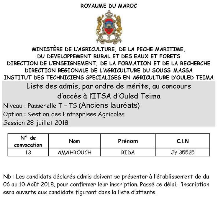 Résultats Concours Institut Agricole oulad teima Formation des TechniciensSpécialiséset techniciens 2018-2019