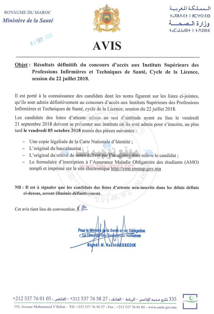 Résultats Définitifs Concours Instituts Supérieurs professions infirmières ISPITS septembre 2018-2019