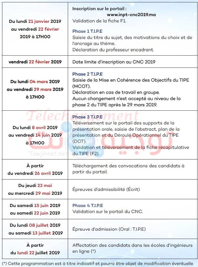 Calendrier Concours Cpge 2019.Cpge Maroc Concours National Commun Cnc 2019 Tawjihnet