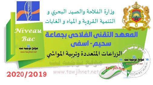 المعهد التقني الفلاحي جماعة سحيم اسفي Concours Institut Technique Agricole jemaa Shaim Safai 2019-2020