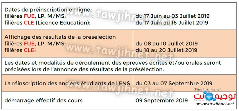 Bac Concours ENS Rabat FUE CLE 2019-2020 مباريات المسالك الجامعية للتربية وإجازات التربية المدرسة العليا للاساتدة بالرباط
