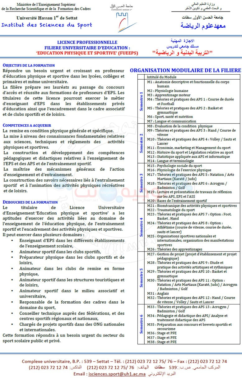 Concours  Institut Sciences Sport ISS I2S Settat 2020 - 2021