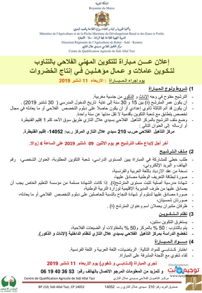 """Centre de Qualification Agricole de Sidi Allal Tazi Filière de formation """"Maraîchage"""" septembre 2019"""