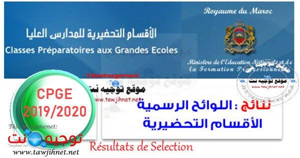 Résultats Sélection lp CPGE listes principales 2019 2020