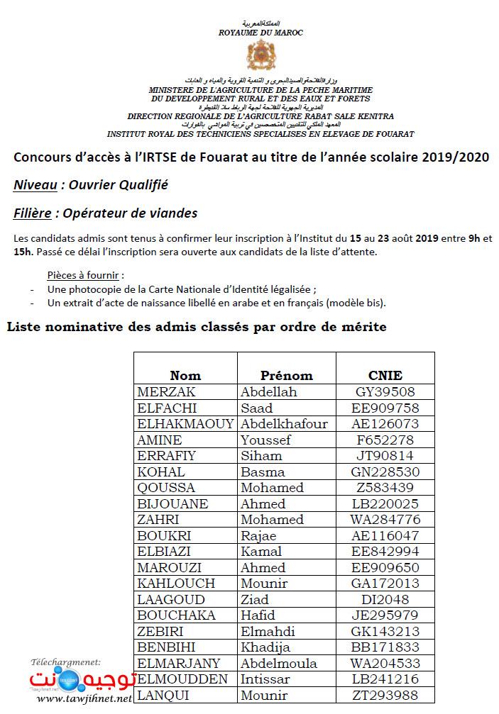 Résultats Concours Opérateur de viandes IRTSE Fouarat 2019 2020