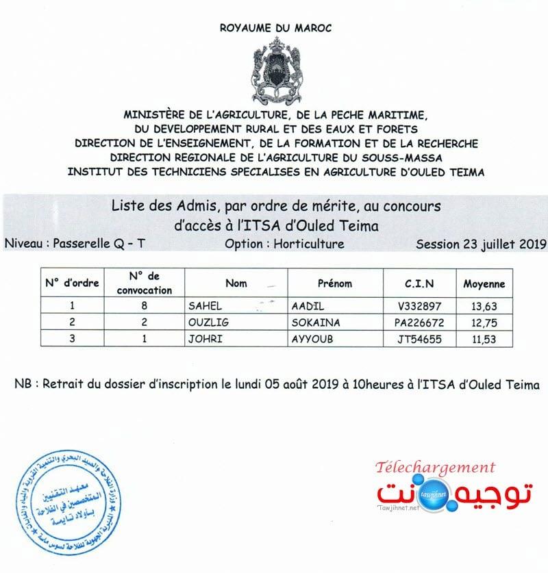 Résultats Concours Institut Agricole oulad teima Formation des Techniciens 2019