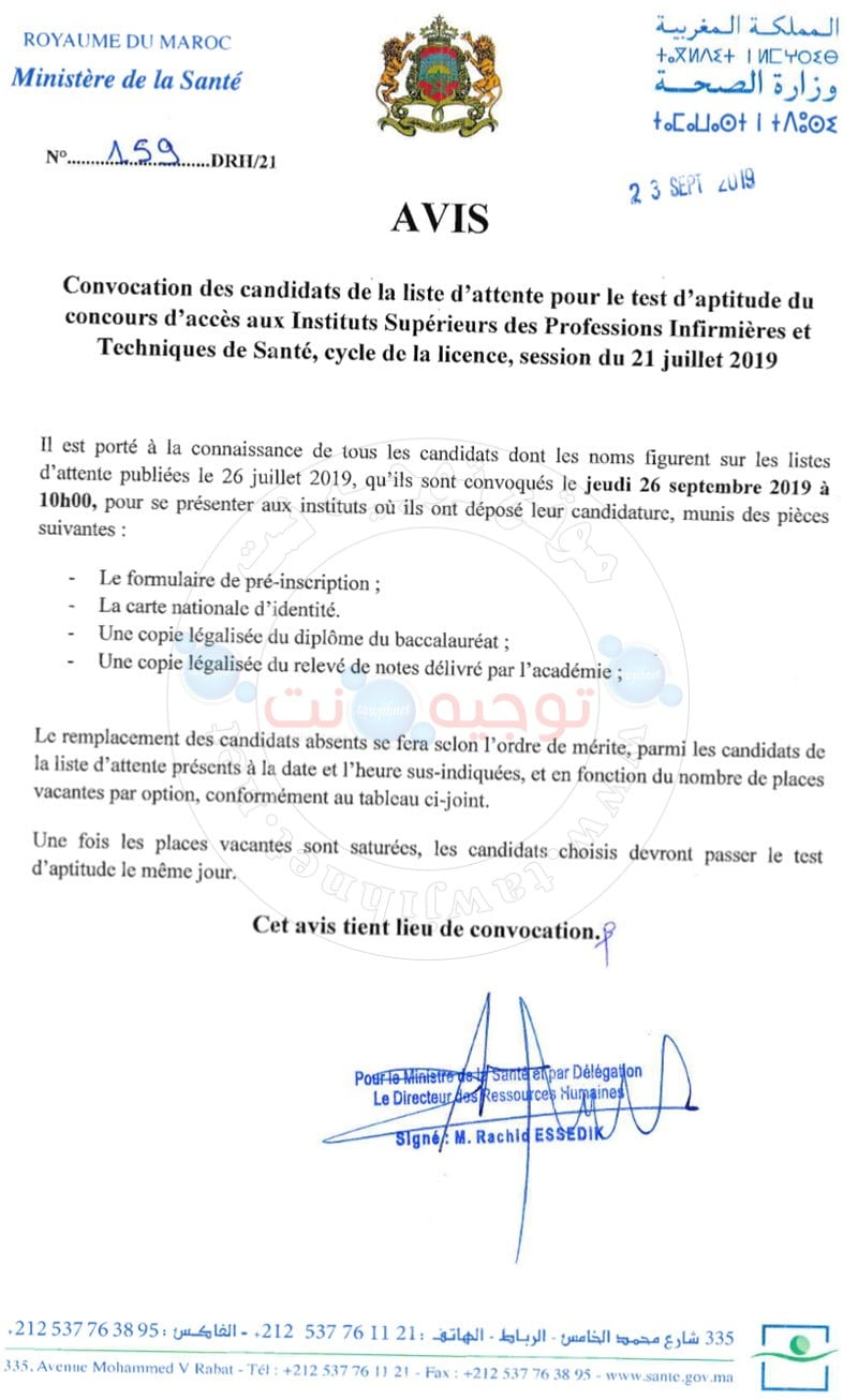 Listes d'attente Concours  ISPITS 2019-2020