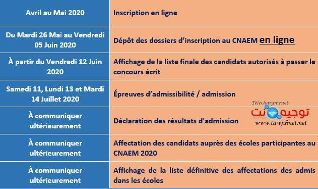 calendrier cnaem 2020