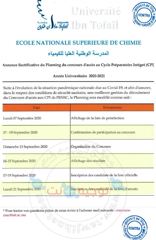 ensc kenitra Planning du concours d'accès au Cycle Préparatoire Intégré (CPI) Année Universitaire 2020-2021.