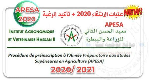Seuils admissibilité confirmation APESA Rabat 2020 2021