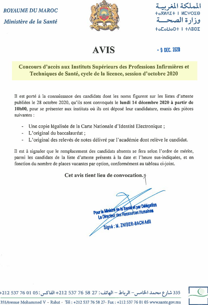 Listes d'attente Concours ISPITS 2020
