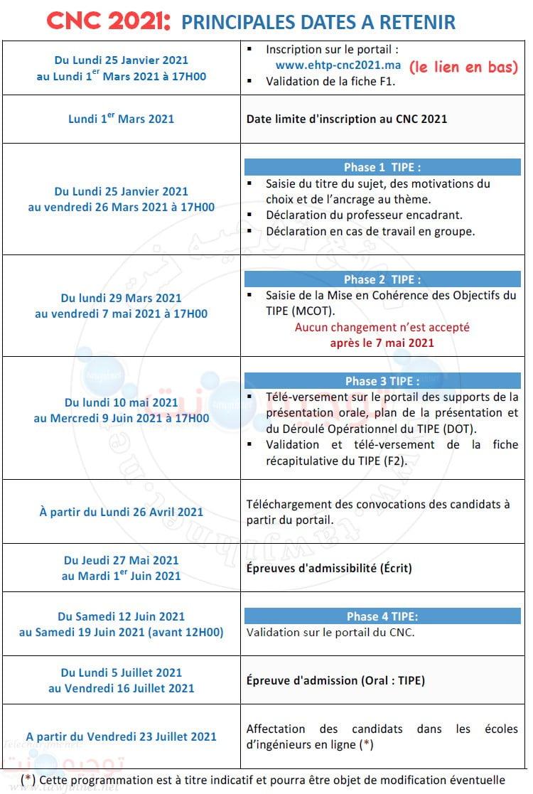 calendrier Concours national commun CNC Maroc 2021