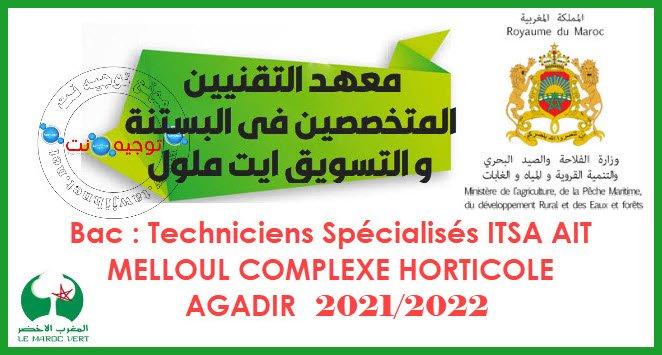Concours ITSA AIT MELLOUL COMPLEXE HORTICOLE AGADIR 2021 - 2022 مباراة معهد التقنيين المتخصصين في البستنة و التسويق ايت ملول