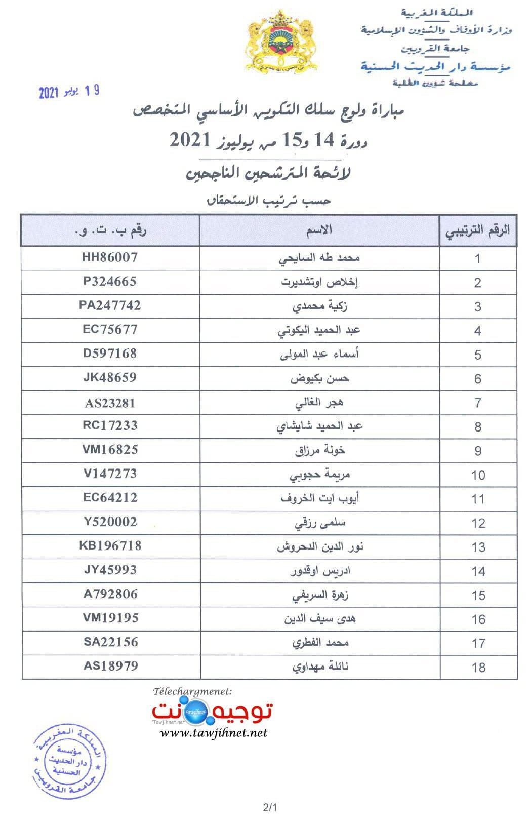 Résultats Concours Dar El Hadith El Hassania 2021 2022