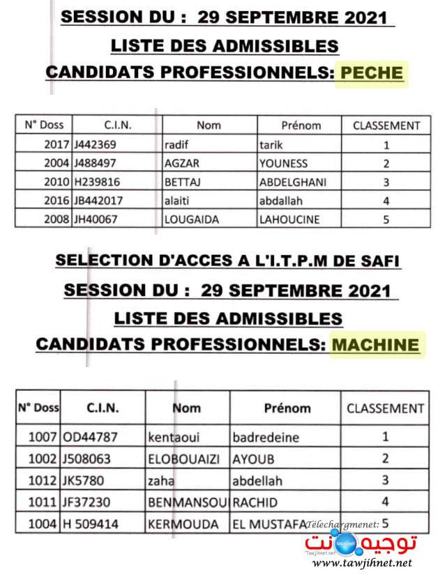 lp Resultats Techniciens ITPM Pêches Maritimes 2021-2022